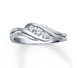 Beautiful 1/4 Carat Trilogy Engagement Ring in White Gold