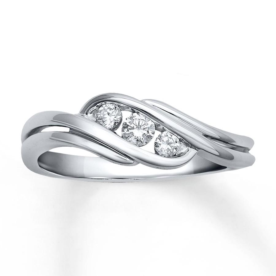Beautiful 1 4 Carat Trilogy Engagement Ring in White Gold JeenJewels