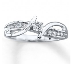 Unique Round Diamond Engagement Ring for Women in White Gold