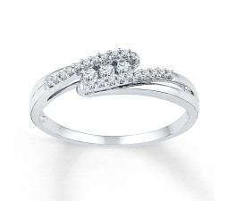 Fantastic Trilogy Round Diamond Engagement Ring in White Gold