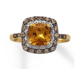Unique Antique Style 1 Carat Citrine and Diamond Engagement Ring in Yellow Gold