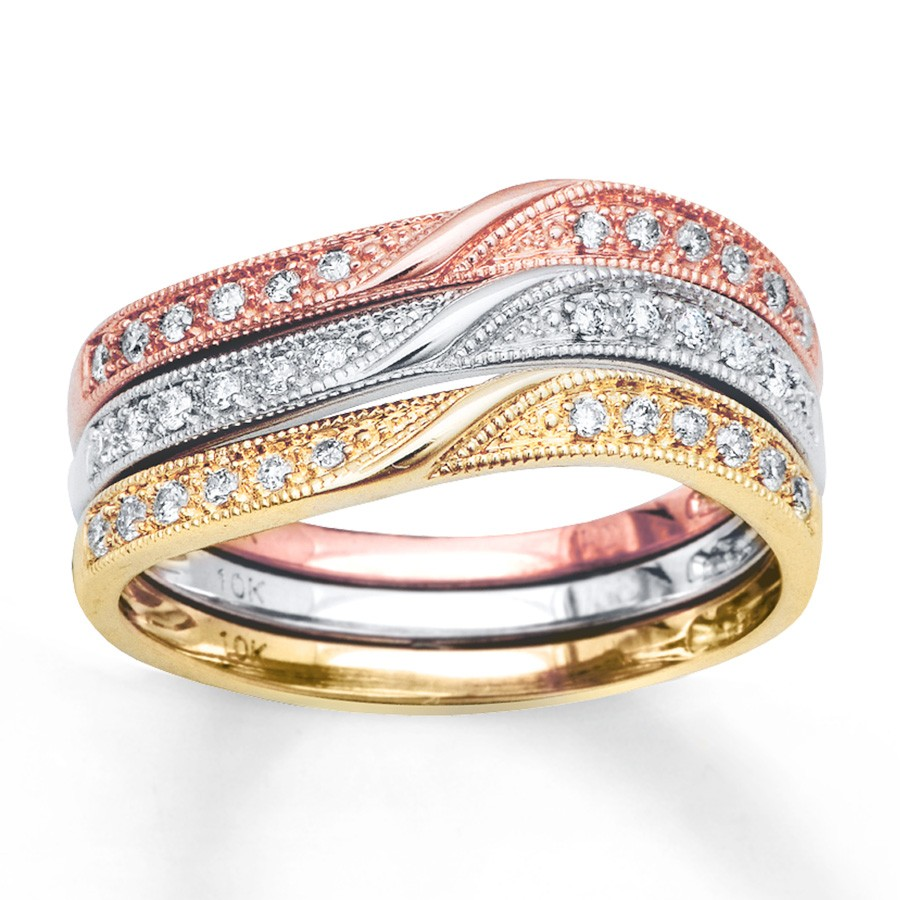 Perfect Combination Set Of 3 Round Diamond Wedding Ring Bands In Multicolor Gold