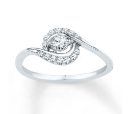 Affordable Round Diamond Engagement Ring in White Gold for Women