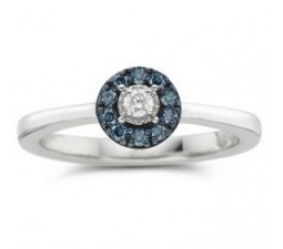 On Sale 1/4 Carat Round Diamond and Sapphire Halo Engagement Ring in White Gold