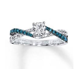 Perfect Combination Half Carat Round Diamond and Sapphire Engagement Ring