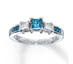 Princess cut Blue Sapphire and Diamond Engagement Ring in White Gold