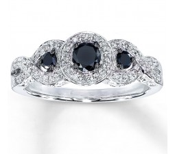 Trilogy 1 Carat Sapphire and Diamond Halo Engagement Ring in White Gold