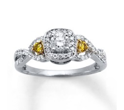 1 Carat White and Yellow Diamond Engagement Ring for Her