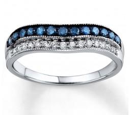 Designer Blue Sapphire and White Diamond Wedding Ring Band in White Gold