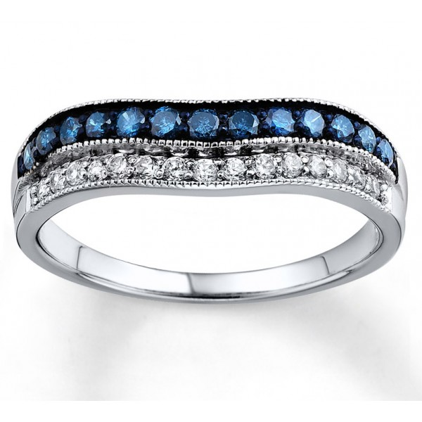 Designer Blue Sapphire and White Diamond Wedding Ring Band in White Gold Je