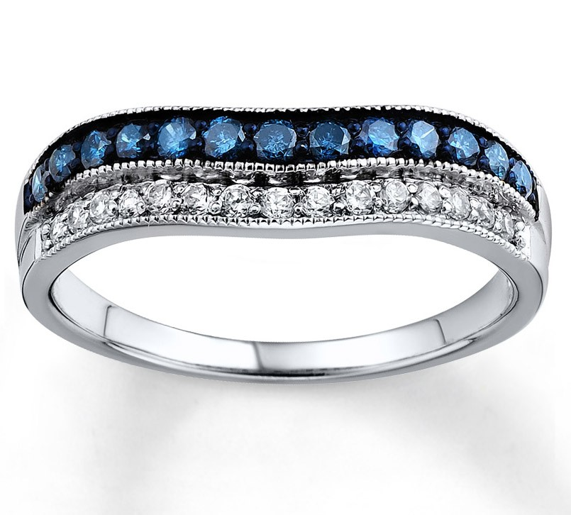 Designer Blue Sapphire and White Diamond Wedding Ring Band in White
