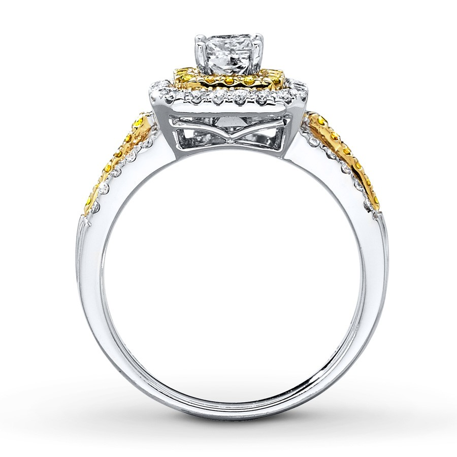 1 carat princess cut and citrine engagement ring
