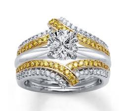1.50 Carat Round White and Yellow Diamond Bridal Set in White Gold