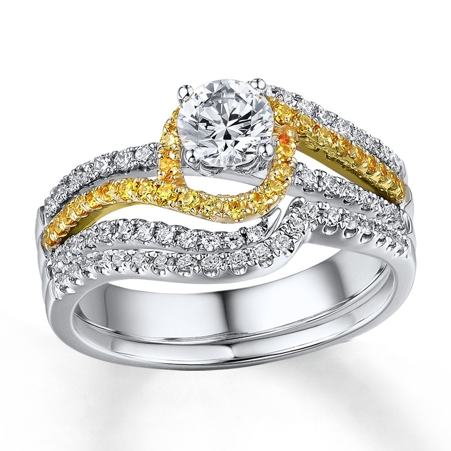 1 Carat Beautiful White And Yellow Diamond Wedding Ring Set