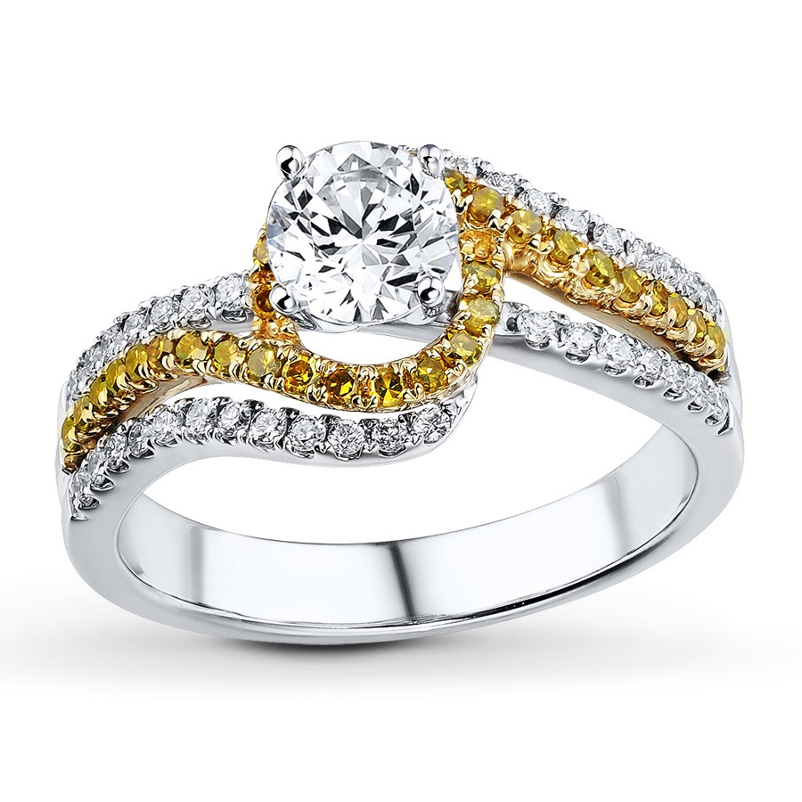 1 Carat Beautiful White and Yellow Diamond Wedding Ring Set JeenJewels