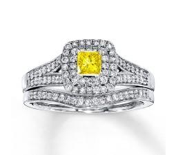 Fancy Yellow 1 Carat Princess Halo Bridal Ring Set in White Gold