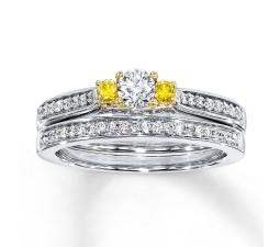 Unqiue 1 Carat Trilogy White and Yellow Diamond Wedding Ring Set