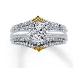 Designer 1 Carat Round White and Yellow Diamond Wedding Set for Women