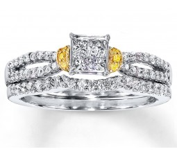 1 Carat Princess White and Yellow Diamond Bridal Ring Set for Her