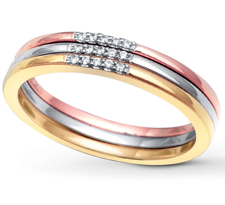 solid listing wedding tri il stacking gold color band aura rings ring