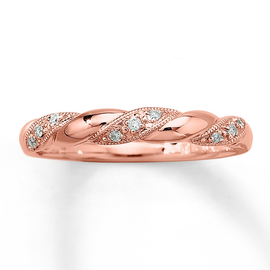 Inexpensive Round Diamond Wedding Ring Band in Rose Gold JeenJewels