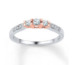 Inexpensive 1/2 Carat Round Diamond Engagement Ring in White and Rose Gold