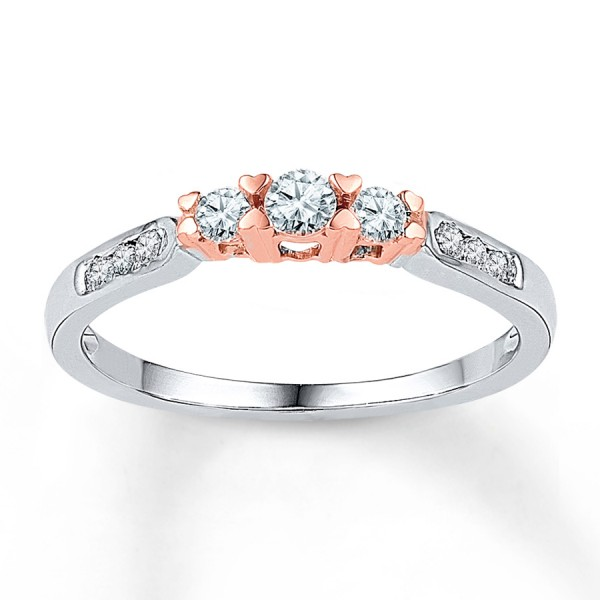Inexpensive 1 2 Carat Round Diamond Engagement Ring in White and Rose Gold