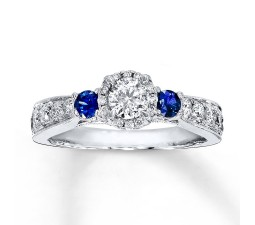1 Carat Round Diamond and Sapphire Halo Engagement Ring in White Gold