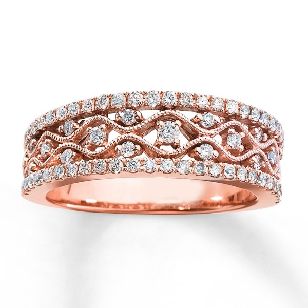Antique Round Diamond Wedding Ring Band In Rose Gold Jeenjewels