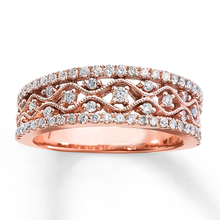 antique round diamond wedding ring band in rose gold. Black Bedroom Furniture Sets. Home Design Ideas