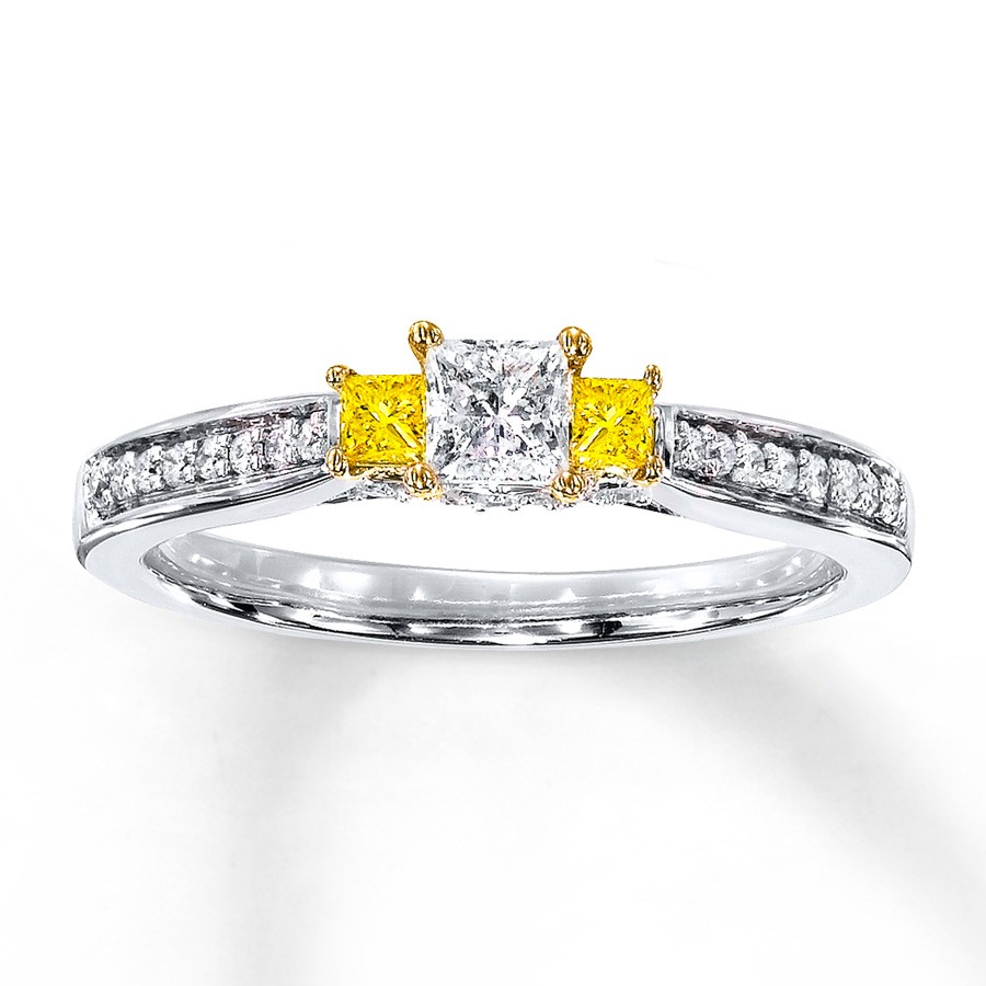 1 Carat Trilogy Princess White And Yellow Diamond Engagement Ring In White  Gold