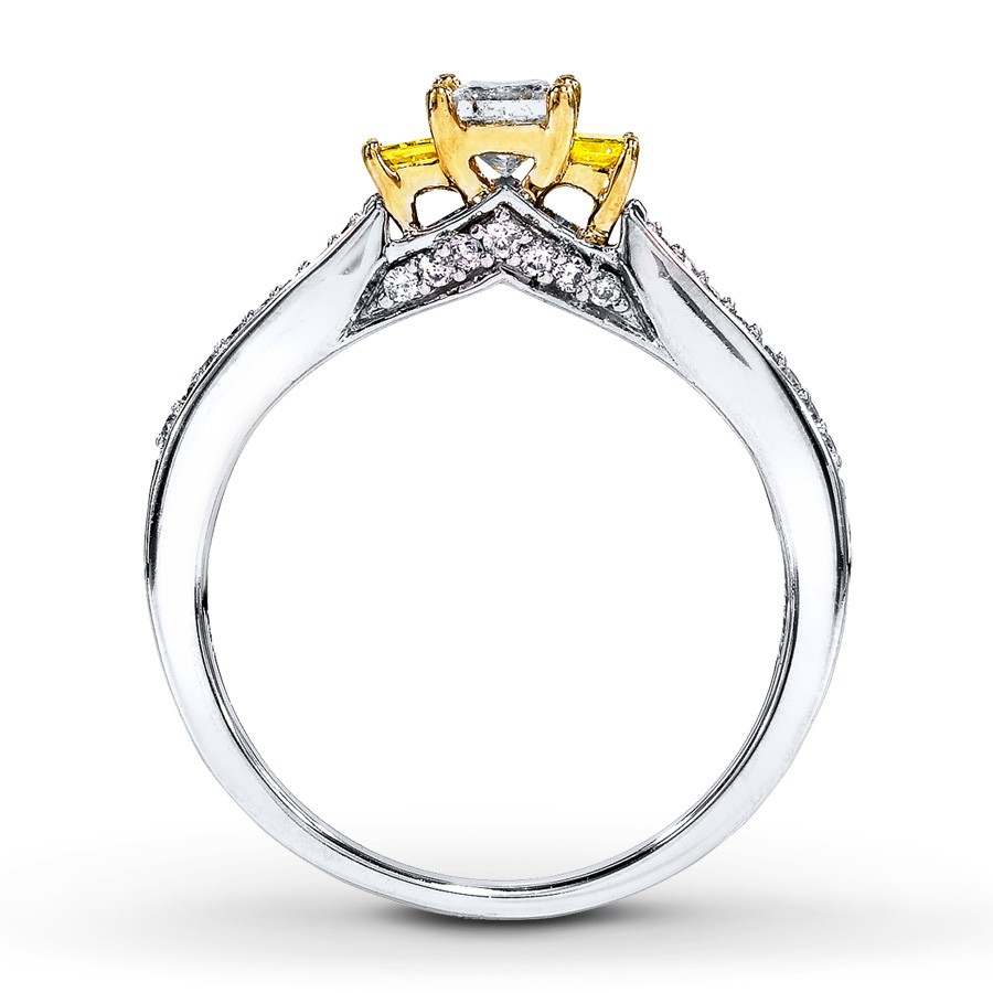 1 carat trilogy princess white and yellow