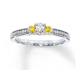 1/2 Carat Round White and Yellow Diamond Engagement Ring in Gold
