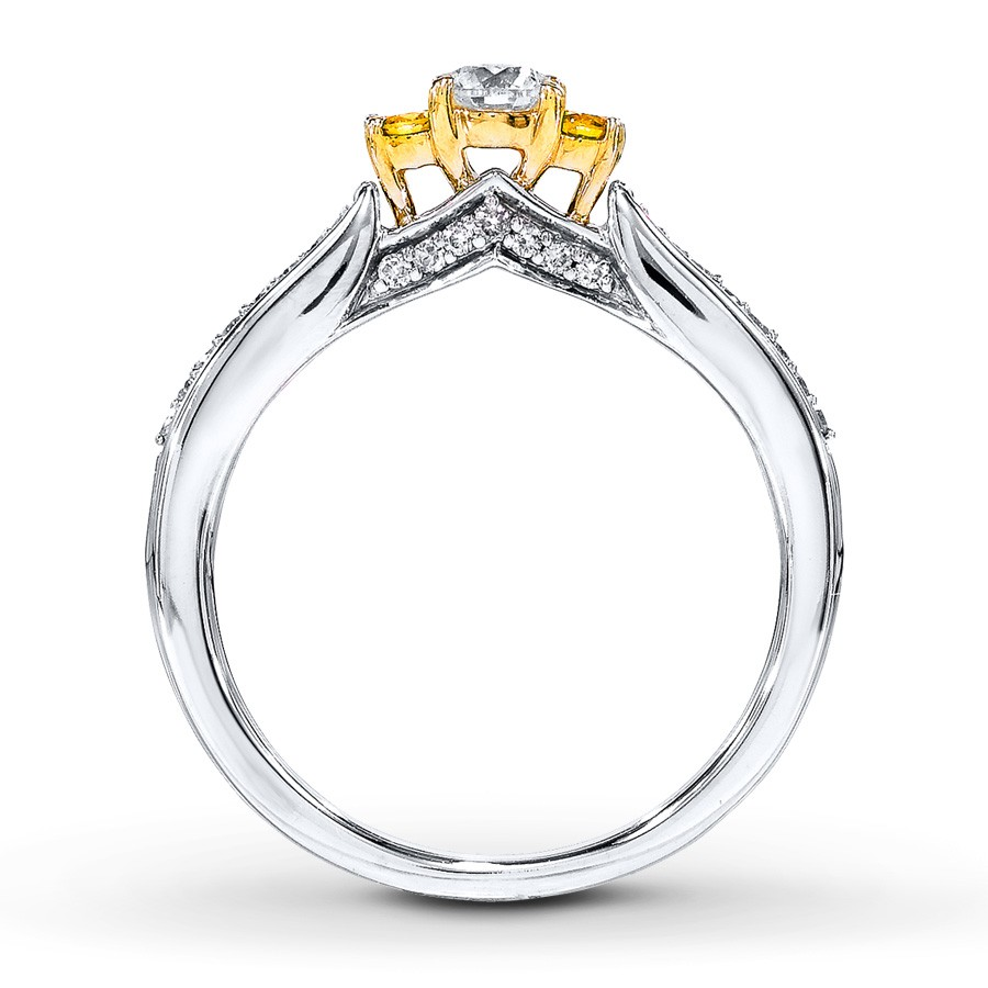 1 2 Carat Round White and Yellow Diamond Engagement Ring in Gold JeenJewels
