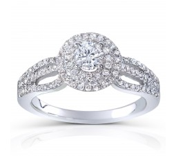 1 Carat Double Halo Round Diamond Engagement Ring in White Gold