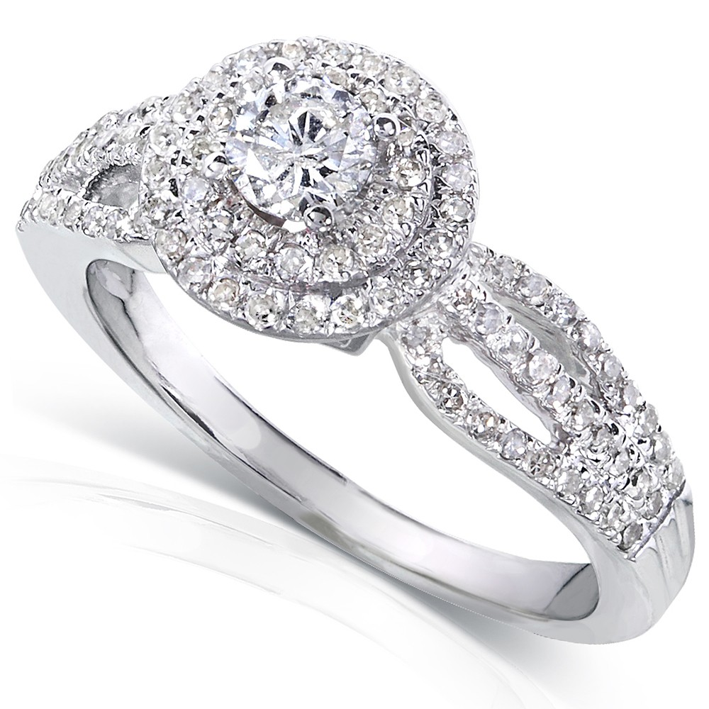 1 carat double halo round diamond engagement ring in white. Black Bedroom Furniture Sets. Home Design Ideas