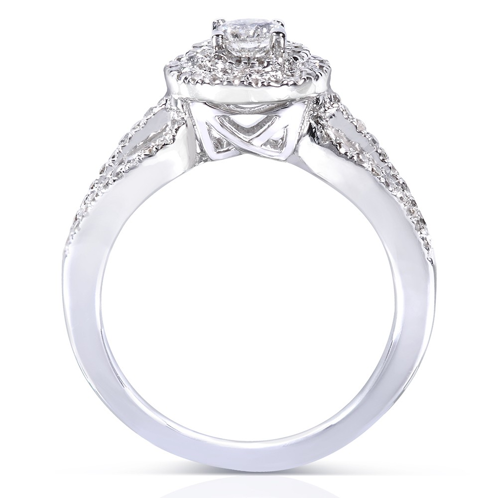 1 Carat Double Halo Round Diamond Engagement Ring in White Gold JeenJewels
