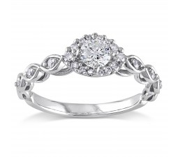 Perfect Round Diamond Infinity Engagement Ring for Women in White Gold