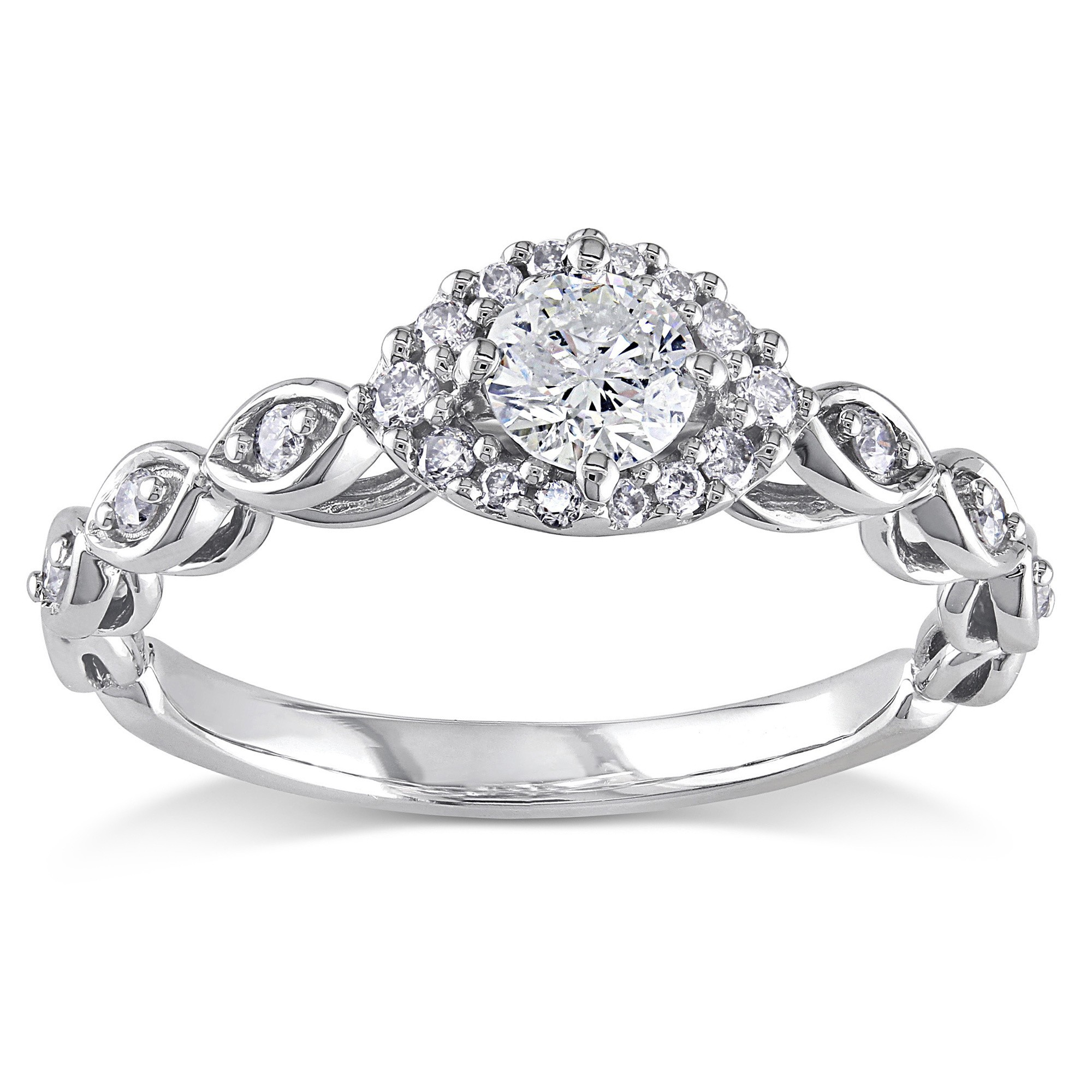 Perfect Round Diamond Infinity Engagement Ring for Women in White Gold Jeen