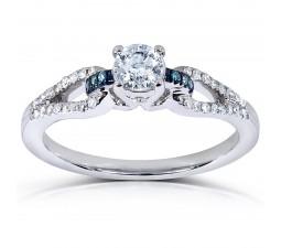 Inexpensive 1/2 Carat Round White and Blue Diamond Engagement Ring