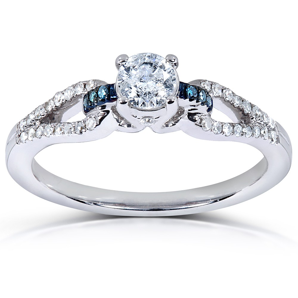 inexpensive 12 carat round white and blue diamond engagement ring - Blue Diamond Wedding Rings