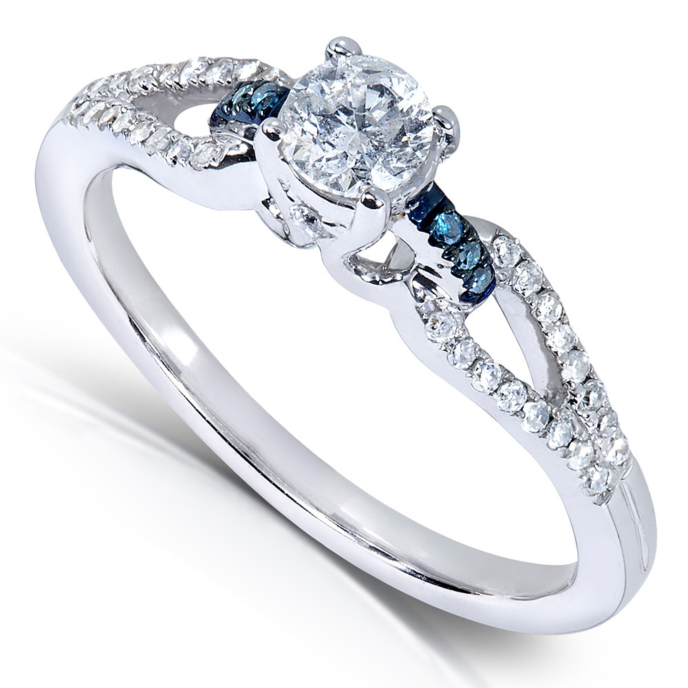 Inexpensive 1 2 Carat Round White and Blue Diamond Engagement Ring JeenJewels