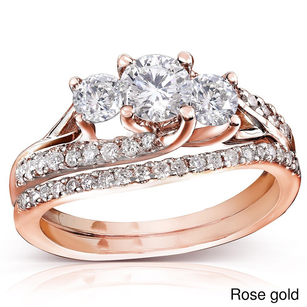 rose gold wedding ring set rose gold bridal set rings