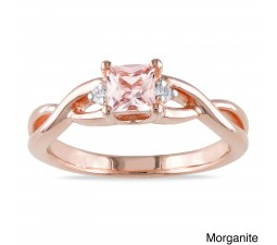1/2 Carat Morganite and Diamond Engagement Ring in Rose Gold
