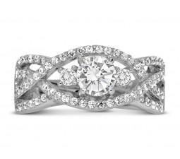 Perfect Designer 1 carat Round Diamond Engagement Ring for Women in White Gold
