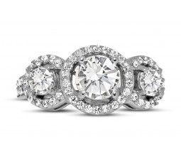 Unique Trilogy 1 Carat Round Diamond Engagement Ring in White Gold for Women