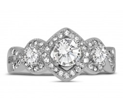 Unique Trilogy 1 Carat Infinity Round Diamond Engagement Ring in White Gold for Women