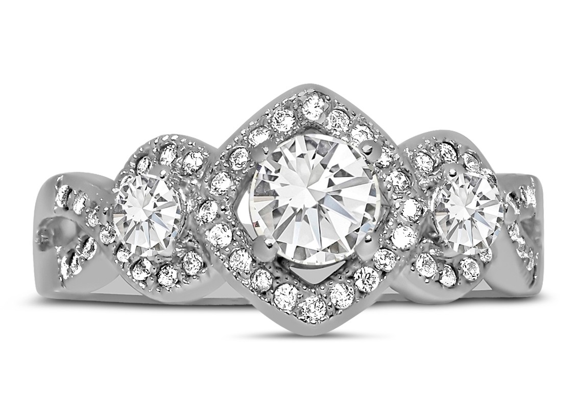 unique trilogy 1 carat infinity round diamond engagement ring in