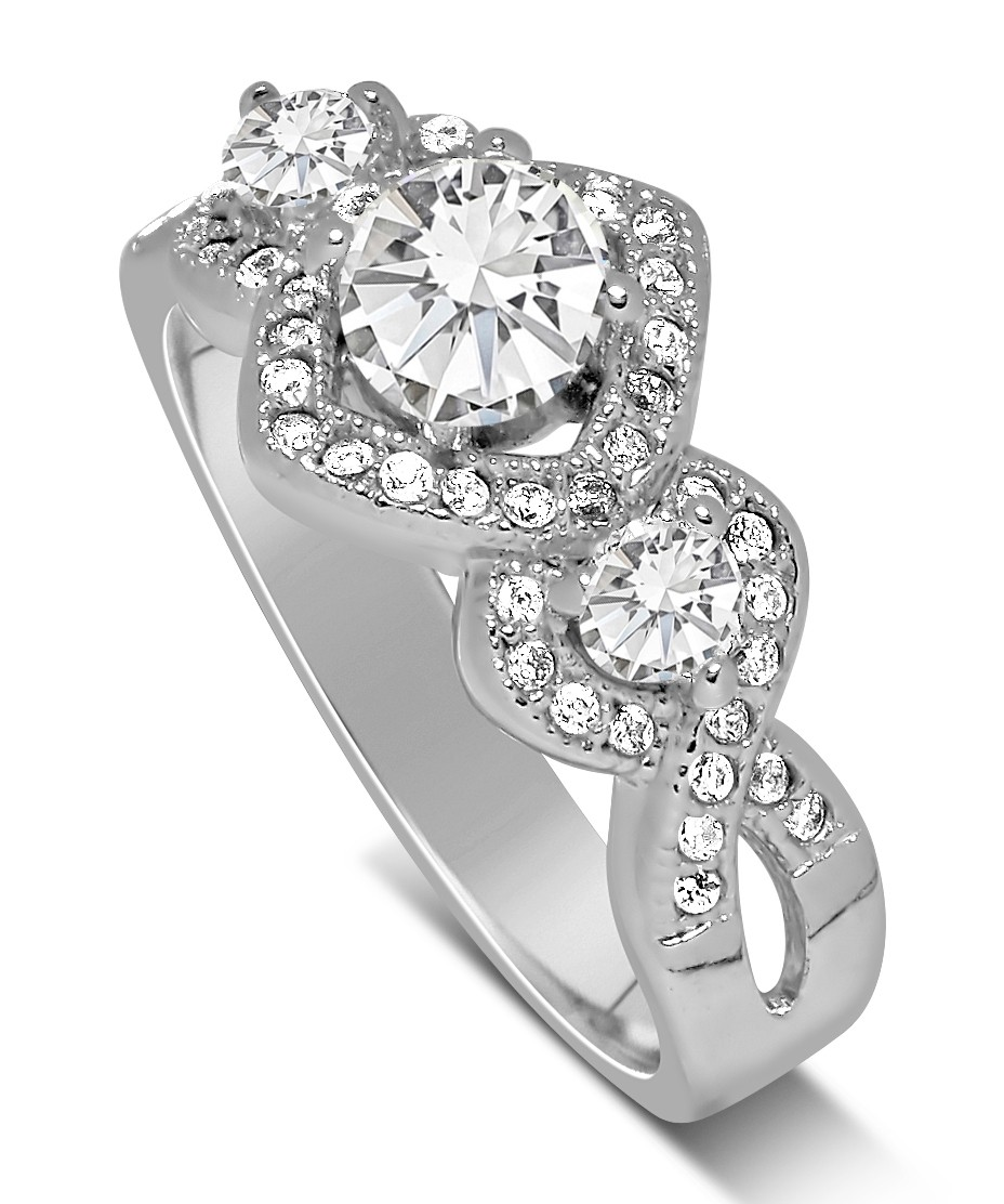 unique trilogy 1 carat infinity round diamond engagement