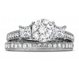 2 Carat Round and Princess Diamond Wedding Ring Set in White Gold